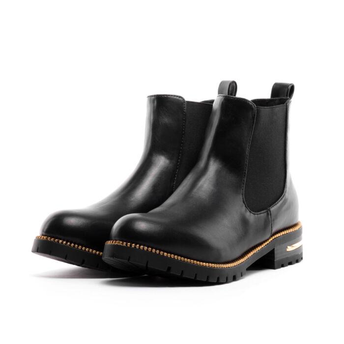 Adriana Női Fekete Arany Műbőr Bokacsizma - BAKANCSOK - Női cipő ... 6bbb8ffd2a