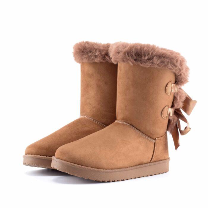 Barna női művelúr hótaposó fűzővel - HÓTAPOSÓK - Női cipő webáruház ... 3842bf01a2