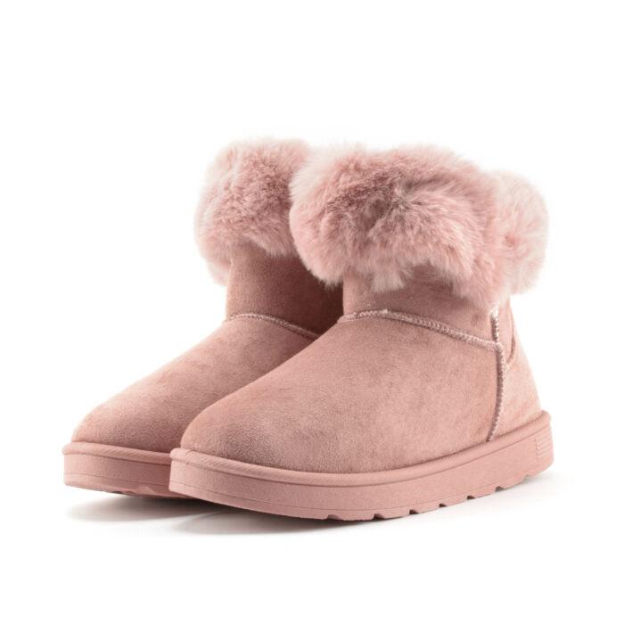 Rózsaszín szőrmés női művelúr hótaposó - HÓTAPOSÓK - Női cipő ... 8d69609370