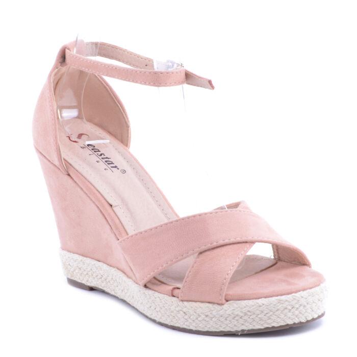 Rózsaszín Női Művelúr Magassarkú Szandál - LAPOS TALPÚ SZANDÁLOK - Női cipő  webáruház-női csizmák ec314b4ccd
