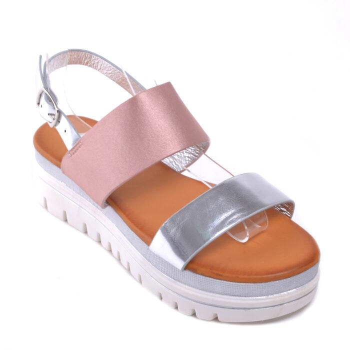 Női Pántos Szandál Rózsaszín-Ezüst Színben - LAPOS TALPÚ SZANDÁLOK - Női  cipő webáruház-női csizmák 4c8a5a1aee