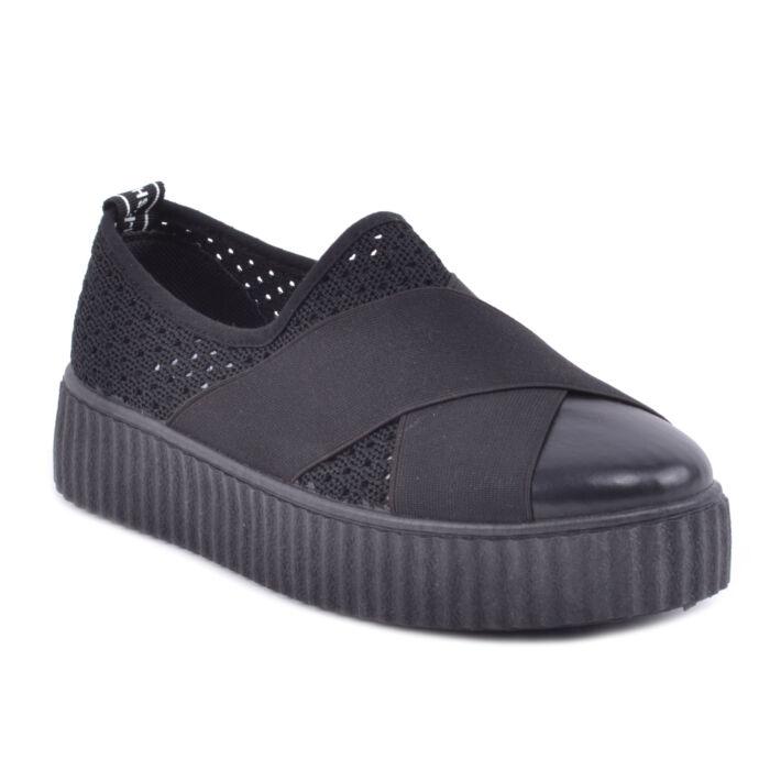 Női Horgolt Fekete Félcipő - SLIP-ON - Női cipő webáruház-női csizmák 79cc8c8a83