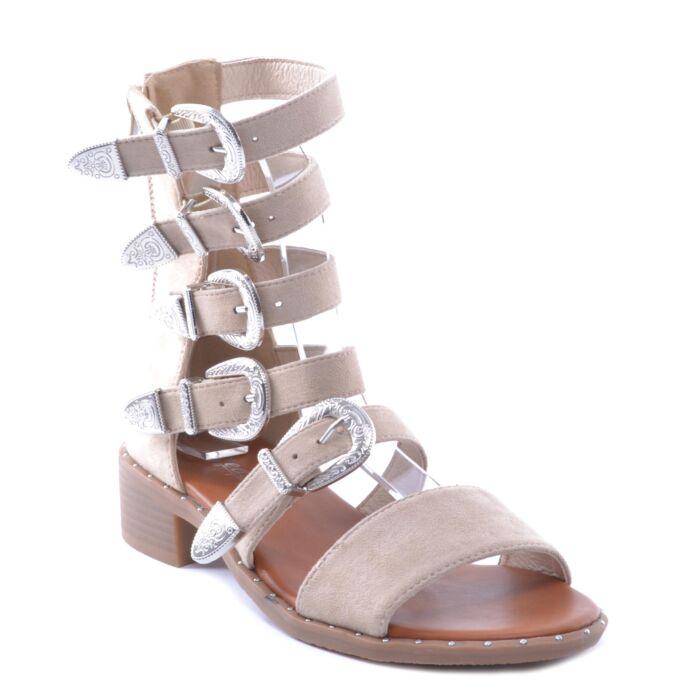 Nc159 Homok Színű Női Művelúr Szandál - LAPOS TALPÚ SZANDÁLOK - Női cipő  webáruház-női csizmák 3be051b63f