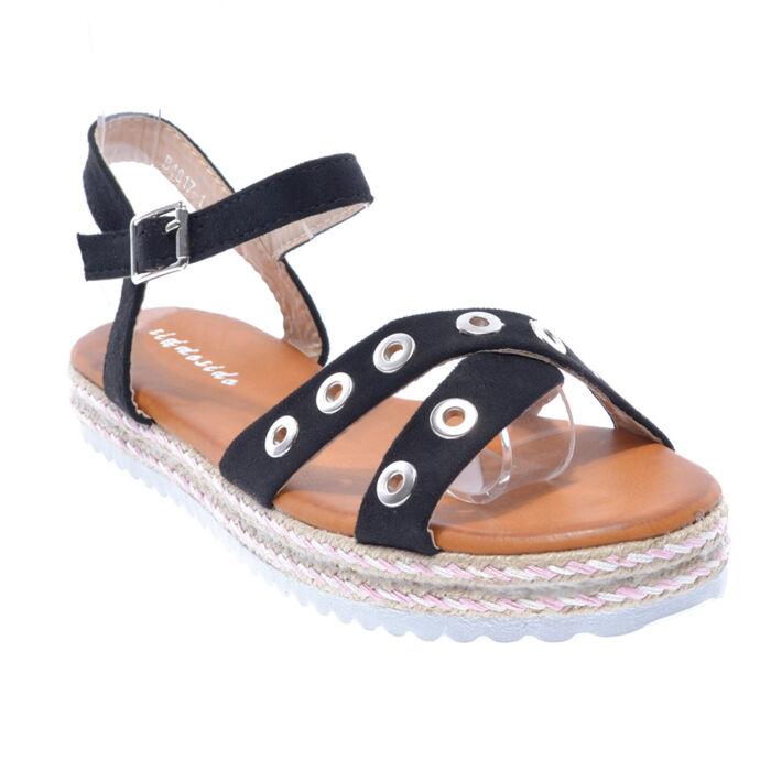 B4817 Fekete Női Művelúr Szandál - LAPOS TALPÚ SZANDÁLOK - Női cipő ... 3fad81aba5