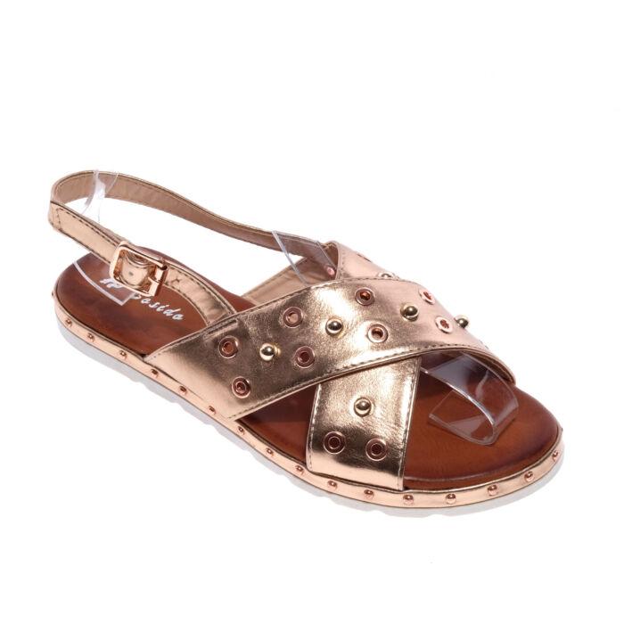 Pezsgő Színű Női Műbőr Szandál - LAPOS TALPÚ SZANDÁLOK - Női cipő webáruház- női csizmák 921753faef