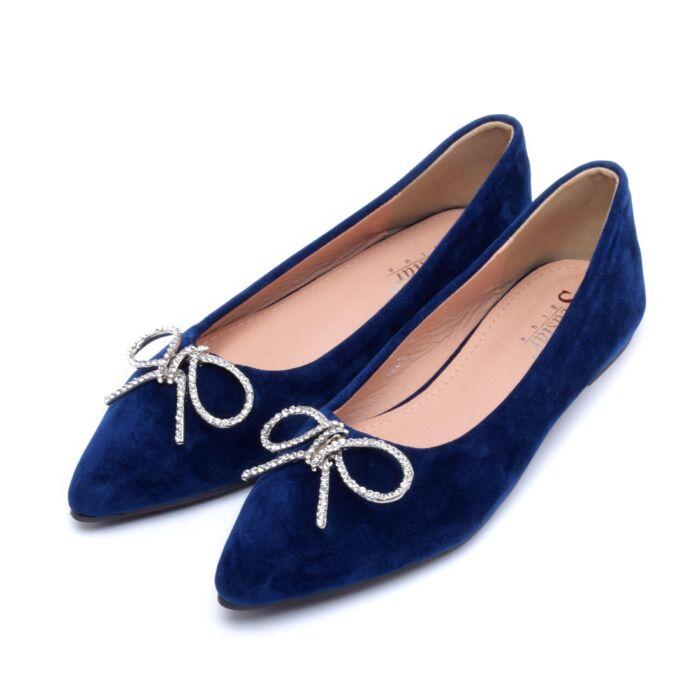 Kék masnis művelúr balerina cipő - BALERINA CIPŐK - Női cipő webáruház-női  csizmák 2f2c484b8a