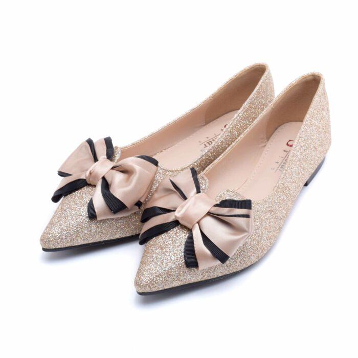 Pezsgő színű csillámos műbőr balerina cipő - BALERINA CIPŐK - Női cipő  webáruház-női csizmák 16714a3719