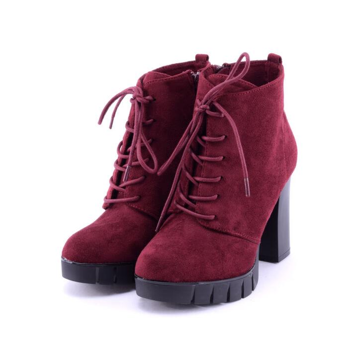 Női Bordó Fűzős Művelúr Magassarkú Bokacsizma - BOKACSIZMÁK - Női cipő  webáruház-női csizmák 0bd2117834