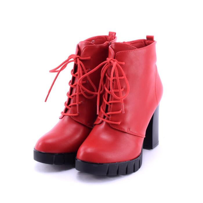 Női Piros Fűzős Műbőr Magassarkú Bokacsizma - BOKACSIZMÁK - Női cipő  webáruház-női csizmák 1f86314299