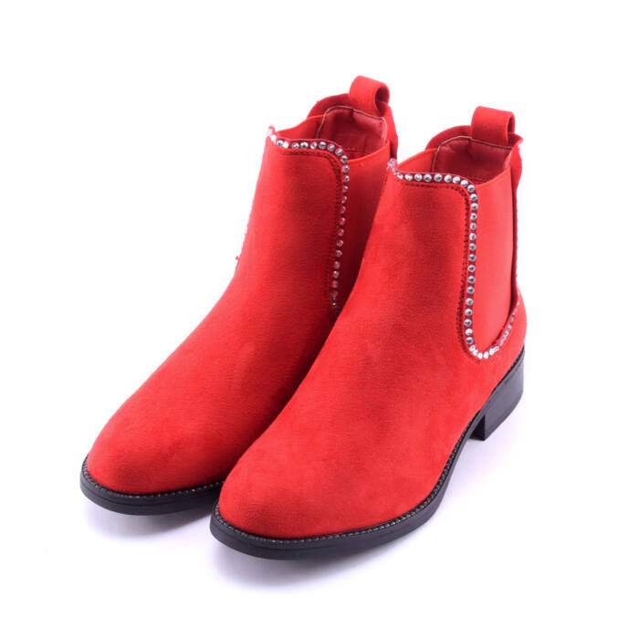 Női Piros Művelúr Bokacsizma - BOKACSIZMÁK - Női cipő webáruház-női  csizmák 832eb27cef