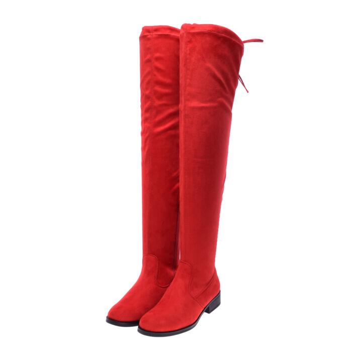 Piros női művelúr magasszárú csizma - MAGASSZÁRÚ CSIZMÁK - Női cipő  webáruház-női csizmák 7461873e56