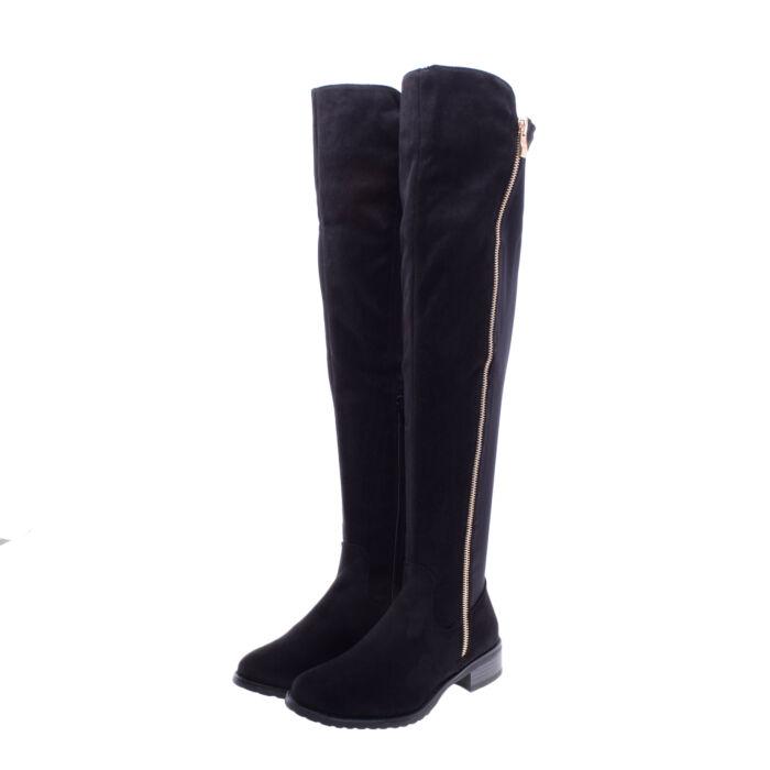Női Fekete Művelúr Hosszúszárú Csizma - MAGASSZÁRÚ CSIZMÁK - Női cipő  webáruház-női csizmák 8a0b0cd385