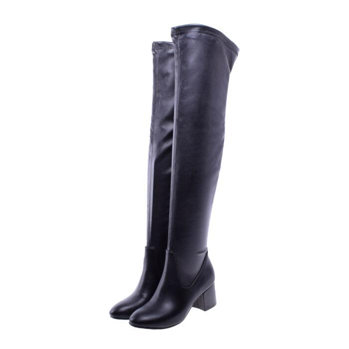Női Fekete Műbőr Hosszúszárú Csizma - MAGASSZÁRÚ CSIZMÁK - Női cipő  webáruház-női csizmák 069a12f23d