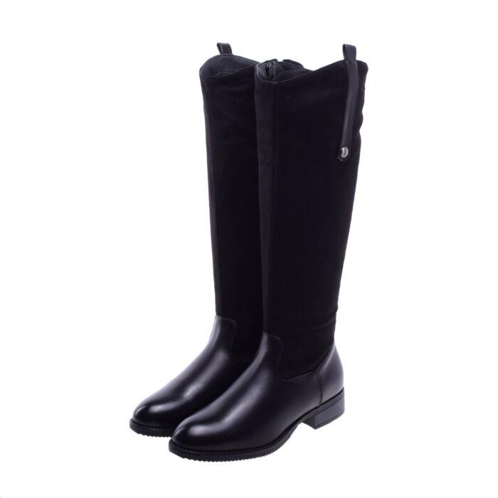 Női Fekete Művelúr Hosszúszárú Csizma - MAGASSZÁRÚ CSIZMÁK - Női cipő  webáruház-női csizmák 73d6f672f0