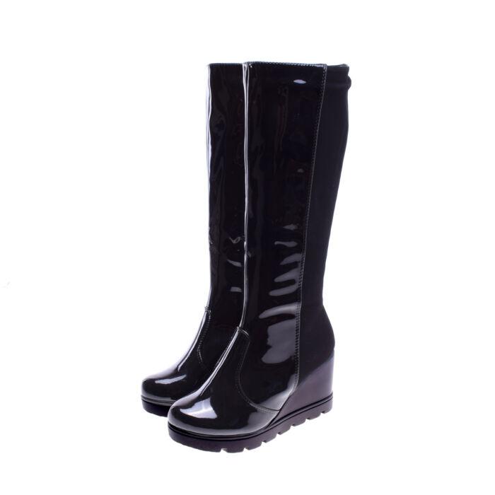 Női Fekete Művelúr Lakk Csizma - MAGASSZÁRÚ CSIZMÁK - Női cipő  webáruház-női csizmák 27fc17050d