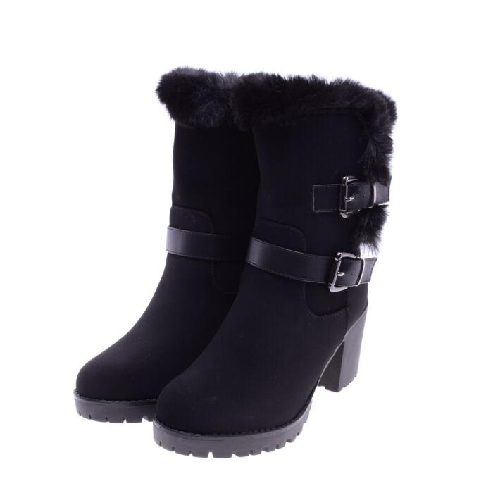 Női Fekete Művelúr Magassarkú Csizma - CSIZMÁK - Női cipő webáruház-női  csizmák b41cb7f37e