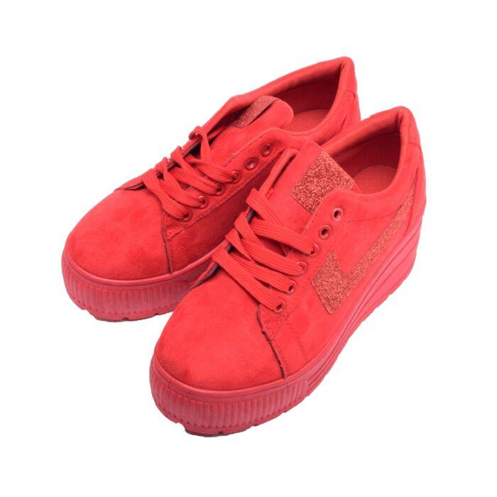 Női Magastalpú Piros Művelúr Félcipő - PLATFORM CIPŐK - Női cipő webáruház- női csizmák 3a10e6ba79
