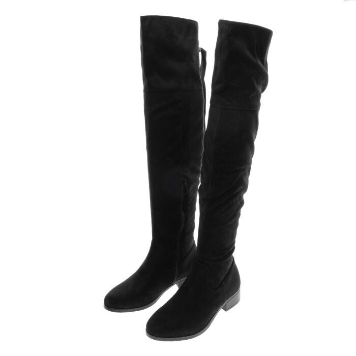 Női fekete művelúr magasszárú csizma - MAGASSZÁRÚ CSIZMÁK - Női cipő  webáruház-női csizmák c3670bec12