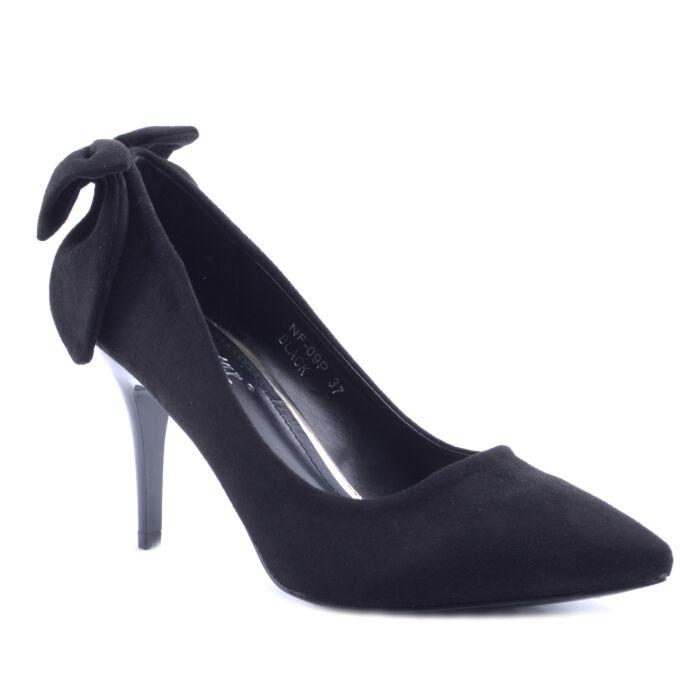 Fekete Színű Masnis Művelúr Magassarkú - ALKALMI CIPŐK - Női cipő webáruház- női csizmák 43ab941b55