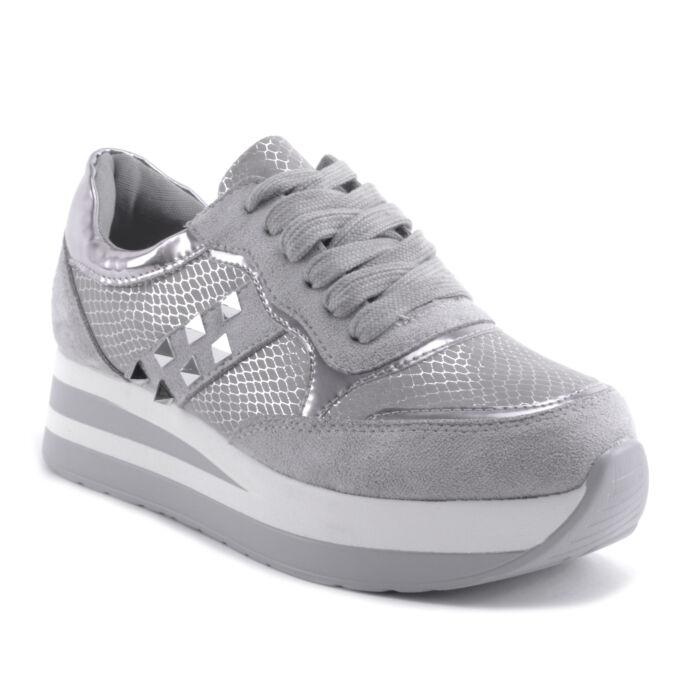 Női Platformos Műbőr Spirtcipő Szürke - MAGAS TALPÚ - Női cipő webáruház-női  csizmák 48e232152b