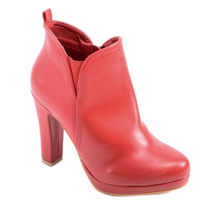 Női Piros Műbőr Magassarkú Bokacsizma - BOKACSIZMÁK - Női cipő webáruház-női  csizmák 823e1b02d8
