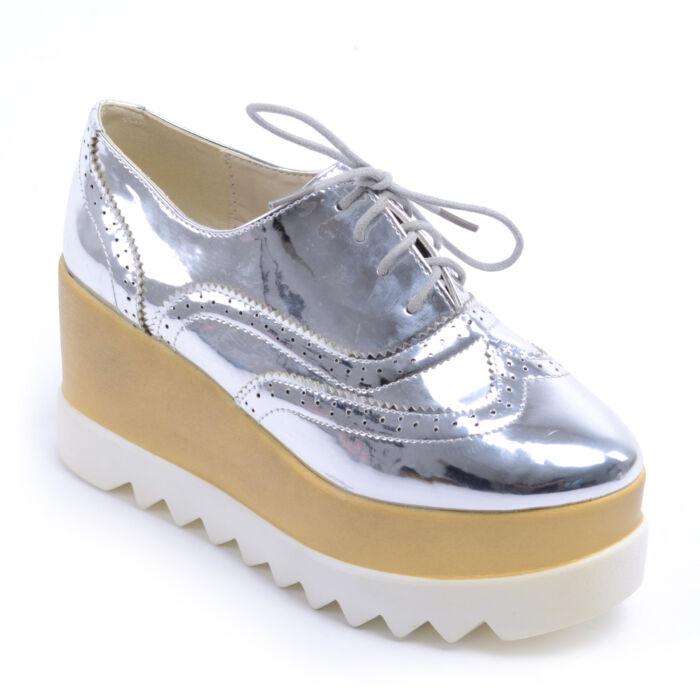 Női Lakk Platformos Cipő Ezüst - MAGAS TALPÚ - Női cipő webáruház-női  csizmák 661770fbe5