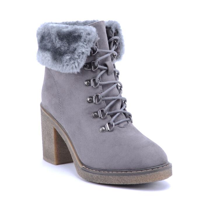 Seastar Női Művelúr Bundás Bokacsizma Szürke - BOKACSIZMÁK - Női cipő  webáruház-női csizmák b38a2b0417
