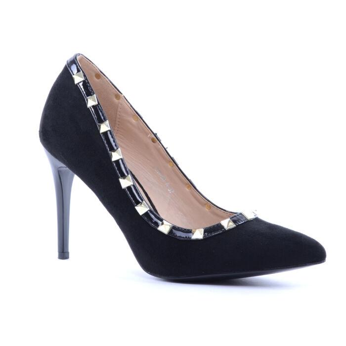 Női Szegecses Művelúr Tűsarkú Fekete - ALKALMI CIPŐK - Női cipő webáruház- női csizmák e77faed297