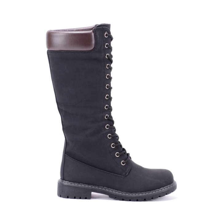 Női Fekete Művelúr Magasszárú Bakancs - MAGASSZÁRÚ CSIZMÁK - Női cipő  webáruház-női csizmák 429fdb4a95