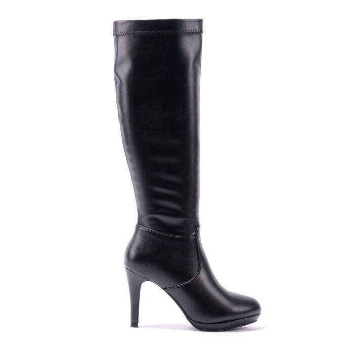 Női fekete Műbőr Magasszárú Csizma - MAGASSZÁRÚ CSIZMÁK - Női cipő webáruház -női csizmák e01738eefe