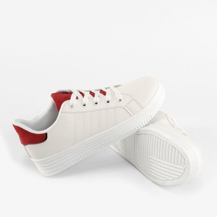 Fehér-Piros Női Műbőr Utcai Cipő - UTCAI CIPŐK - Női cipő webáruház ... 476622e28d