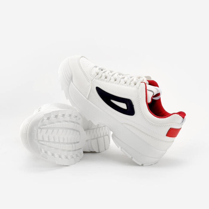 Fehér-Sötétkék-Piros Műbőr Félcipő - UTCAI CIPŐK - Női cipő ... 574c8b8eba