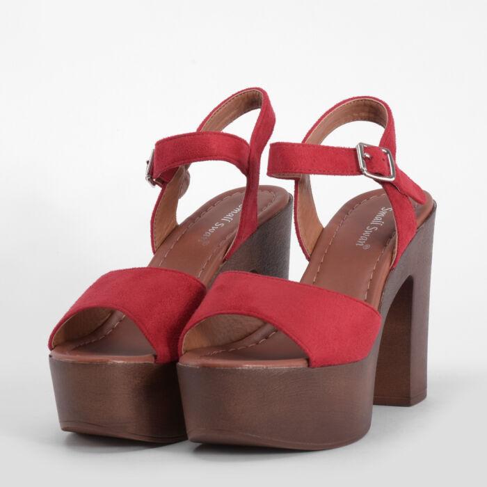 Piros Női Múvelúr Magassarkú Szandál - MAGASSARKÚ SZANDÁL - Női cipő ... 2e81b78fd0