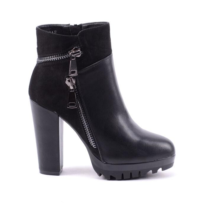 Női Fekete Színű Műbőr Magassarkú Csizma - BOKACSIZMÁK - Női cipő webáruház-női  csizmák f836294fec