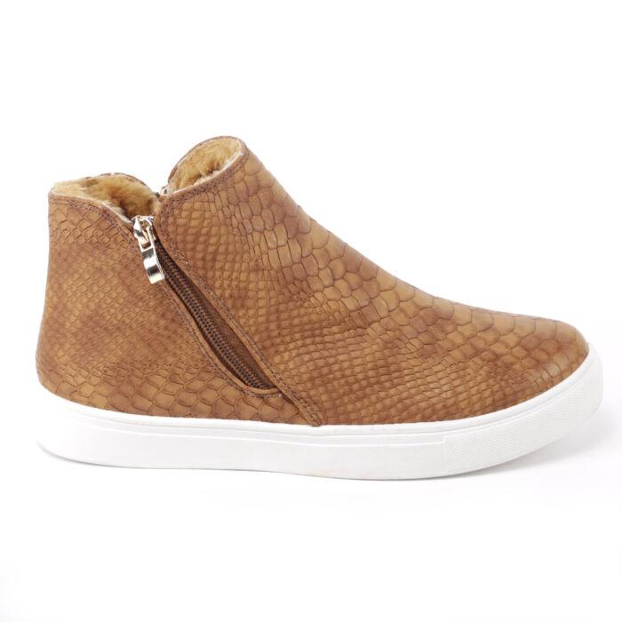 Női Barna Színű Nyomott Mintás Félcipő - SLIP-ON - Női cipő webáruház-női  csizmák f4bc6d6618