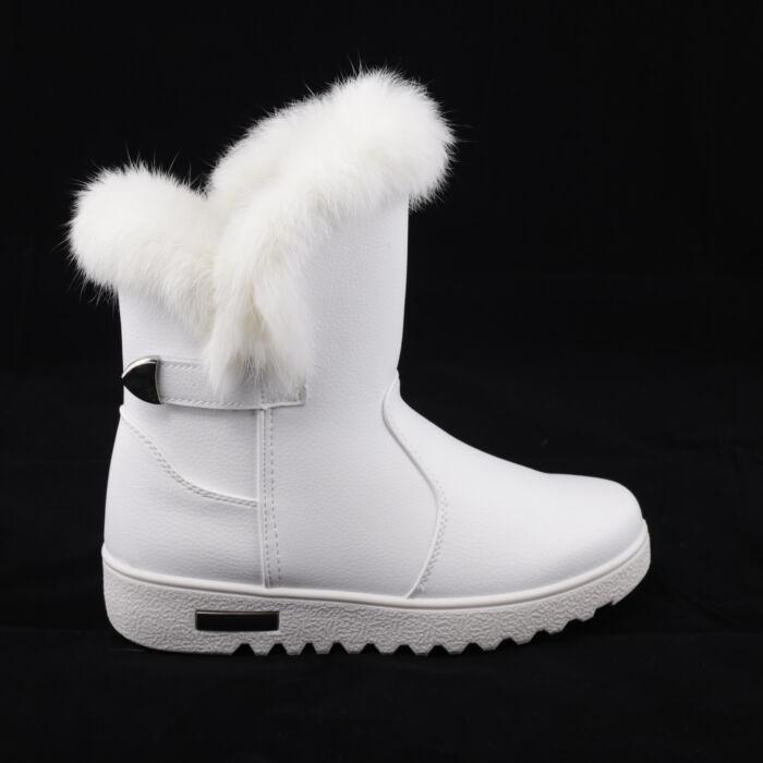 Női Fehér Műbőr Csizma - HÓTAPOSÓK - Női cipő webáruház-női csizmák ... e9a929c320