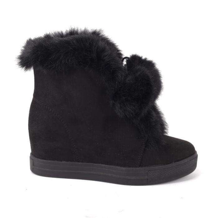 Női Fekete Művelúr Csizma - BOKACSIZMÁK - Női cipő webáruház-női csizmák ce9ed48e5e