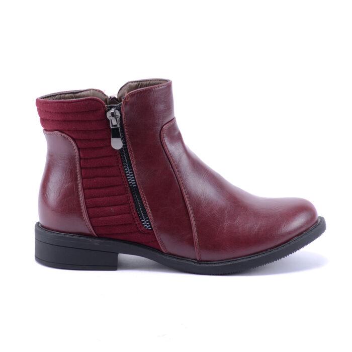 Női Bordó Műbőr Bokacsizma Művelúr Betéttel - BOKACSIZMÁK - Női cipő  webáruház-női csizmák cfe4d301f8