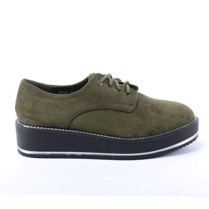 Női Zöld Művelúr Félcipő - MAGAS TALPÚ - Női cipő webáruház-női csizmák d1c047898e