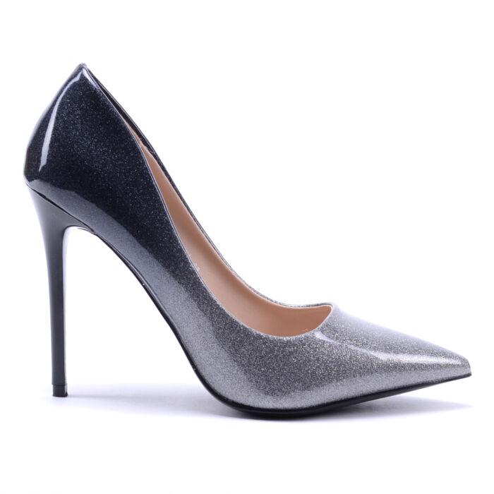 Női Fekete-Ezüst Lakk Magassarkú - ALKALMI CIPŐK - Női cipő webáruház-női  csizmák 4e02797fae