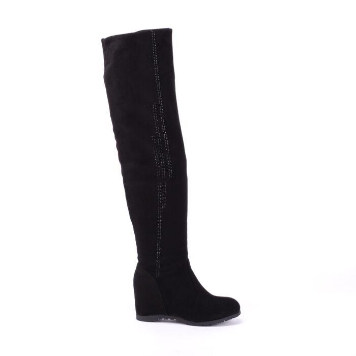 Női Fekete Művelúr Magasszárú Csizma Gyöngysávval - MAGASSZÁRÚ CSIZMÁK - Női  cipő webáruház-női csizmák 5eaf34266c