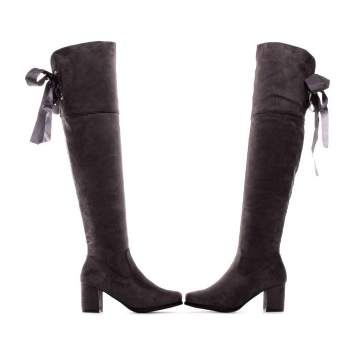 Női Szürke Művelúr Magasszárú Csizma - MAGASSZÁRÚ CSIZMÁK - Női cipő ... 2471b106d5