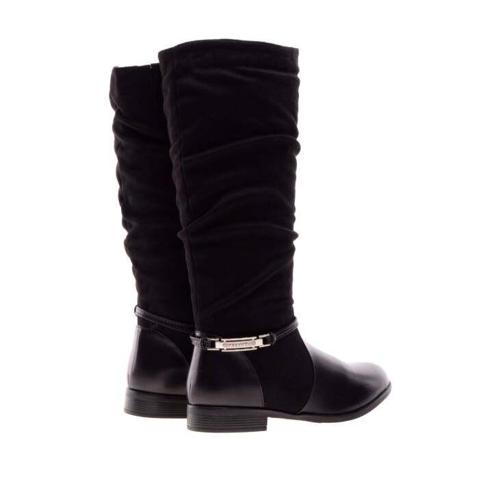Női Fekete Művelúr Csizma - MAGASSZÁRÚ CSIZMÁK - Női cipő webáruház ... 701f2bc328