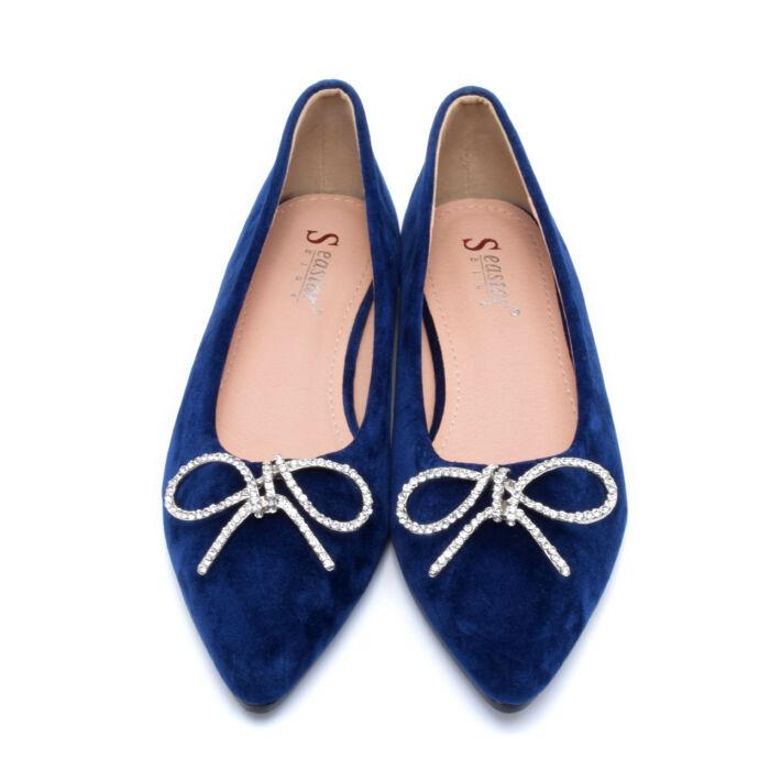 Kék masnis művelúr balerina cipő - BALERINA CIPŐK - Női cipő ... 35d285c758