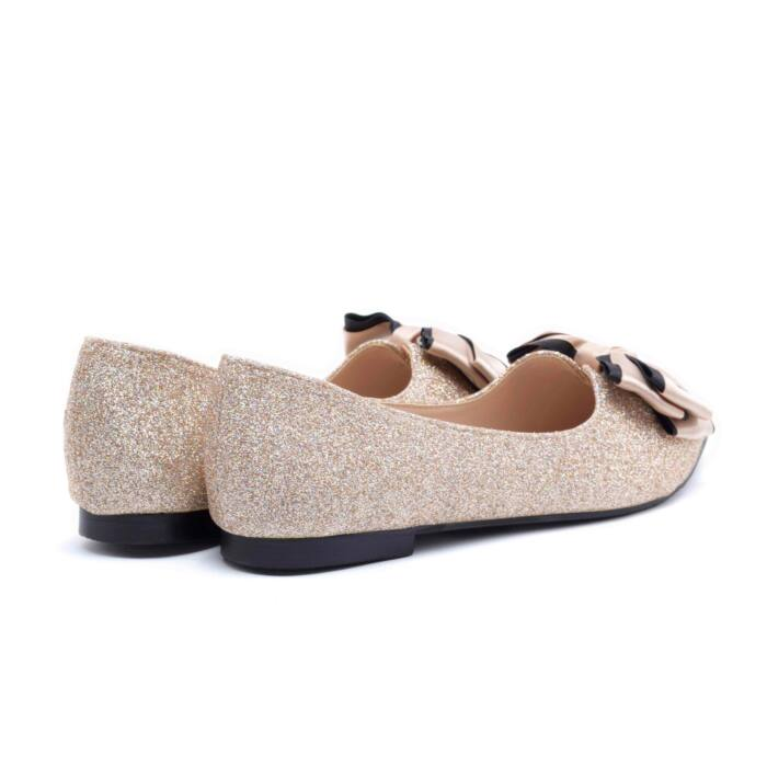 Pezsgő színű csillámos műbőr balerina cipő - BALERINA CIPŐK - Női ... 92d6a2fa89