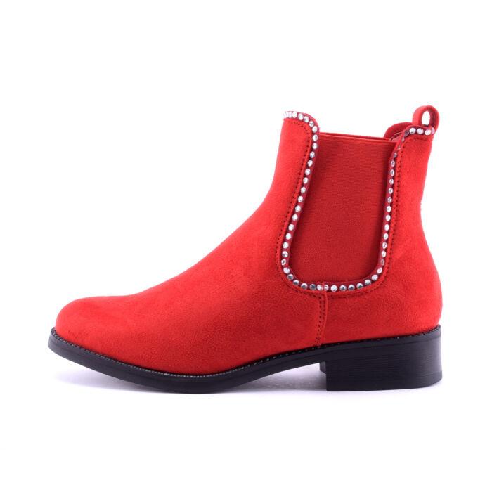 Női Piros Művelúr Bokacsizma - BOKACSIZMÁK - Női cipő webáruház-női ... db4c8b54d4