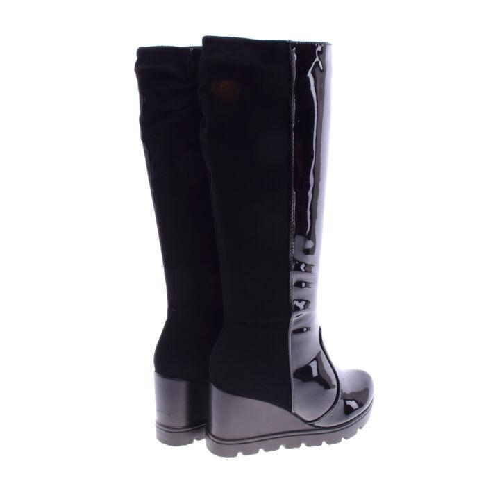 Női Fekete Művelúr Lakk Csizma - MAGASSZÁRÚ CSIZMÁK - Női cipő ... a92460ebb2