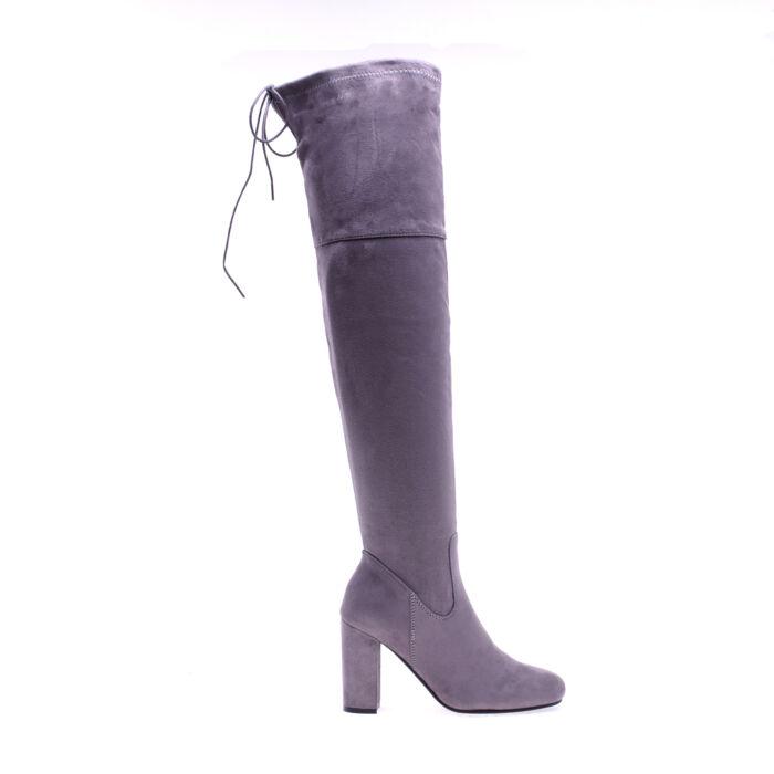 Női Szürke Műbőr Hosszúszárú Csizma - MAGASSZÁRÚ CSIZMÁK - Női cipő ... 9c4e0e43ae