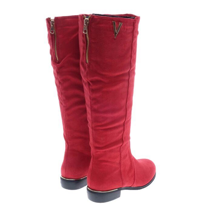 Női Hosszúszárú Piros Művelúr Csizma - MAGASSZÁRÚ CSIZMÁK - Női cipő ... b2c307d1e4
