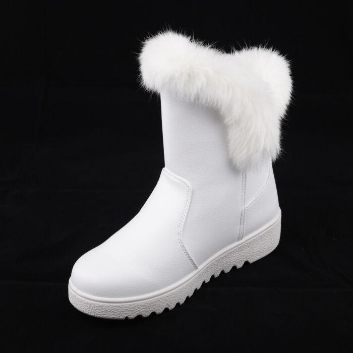 Női Fehér Műbőr Csizma - HÓTAPOSÓK - Női cipő webáruház-női csizmák ... ab8552dd0c